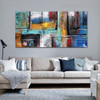 Abstract Boxes Framed Texture Handpainted Canvas for Home Wall Getup