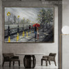 Rainfall Framed Cityscape Texture Knife Effigy for Dining Room Wall Getup