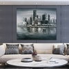 Monochrome Town Modern Cityscape Heavy Texture Palette Knife Painting for Wall Ornamentation