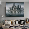 Monochrome Town Modern Cityscape Heavy Texture Palette Knife Painting for Wall Decor Drape