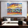 Colorful Town Modern Cityscape Heavy Texture Knife Vignette for Wall Drape