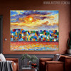 Colorful Town Modern Cityscape Heavy Texture Knife Vignette for Living Room Wall Garniture