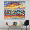 Colorful Town Modern Cityscape Heavy Texture Knife Vignette for Room Wall Decor