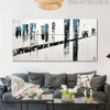 Bridge Abstract Modern Cityscape Texture Oil Vignette for Living Room Wall Finery