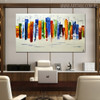Calico Buildings Abstract Modern Cityscape Heavy Texture Handmade Oil Effigy on Canvas for Room Wall Onlay