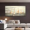 Catboats Seascape Heavy Texture Handmade Nature Effigy for Wall Flourish
