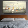 Catboats Seascape Heavy Texture Handmade Nature Effigy for Bedroom Wall Outfit