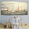 Catboats Seascape Heavy Texture Handmade Nature Effigy for Dining Room Wall Getup