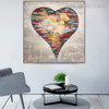 Spoted Heart Abstract Modern Bold Texture Handpainted Canvas for Home Wall Getup