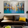 Land Framed Abstract Cityscape Heavy Texture Knife Artwork for Living Room Wall Decor