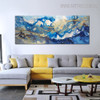 Golden Waves Abstract Modern Bold Texture Handmade Canvas Portrayal for Room Wall Disposition