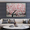 Red Flower Arbor Floral Modern Heavy Texture Knife Portraiture for Room Wall Getup