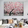 Red Flower Arbor Floral Modern Heavy Texture Knife Portraiture for Room Wall Tracery