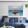 Three Ships Nature Seascape Heavy Texture Knife Painting on Canvas for Room Wall Adornment