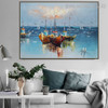 Three Ships Nature Seascape Heavy Texture Knife Painting on Canvas for Interior Wall Decor