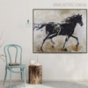 Black Wild Horse Framed Animal Heavy Texture Handmade Canvas Portraiture for Home Wall Getup
