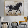Black Wild Horse Framed Animal Heavy Texture Handmade Canvas Portraiture for Room Wall Outfit
