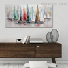 Hued Sailboats Modern Abstract Cityscape Heavy Texture Handmade Canvas Portrayal for Room Wall Drape