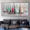 Hued Sailboats Modern Abstract Cityscape Heavy Texture Handmade Canvas Portrayal for Lounge Room Wall Assortment