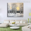 Winter Forest Landscape Handmade Nature Painting for Diy Wall Decor
