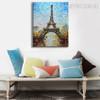 Eiffel Tower Artwork Abstract Framed Cityscape Texture Knife Effigy for Art Lovers