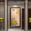Lotus Leaves Abstract Floral Handmade Oil Resemblance for Home Wall Getup