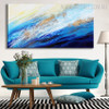 Blue Sea Abstract Modern Seascape Texture Handpainted Canvas for Room Wall Decor