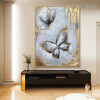 Grey Butterflies Abstract Modern Animal Oil Effigy on Canvas  for Home Wall Equipment