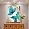 Cyan Butterflies Modern Animal Heavy Texture Canvas Painting for Home Wall Getup