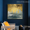 Black Gold Abstract Modern Handmade Oil Resemblance for Wall Decor Design