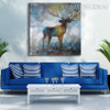 Elk Deer Abstract Animal Modern Heavy Texture Handmade Oil Vignette on Canvas for Living Room Wall Getup