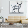 Deer Birds Abstract Animal Modern Palette Knife Painting for Home Wall Assortment