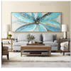 Blue Petals Abstract Floral Contemporary Oil Smudge on Canvas for Lounge Room Wall Assortment