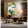 White Poppies Texture Handmade Oil Resemblance on Canvas for Floral Interior Design