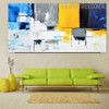 Cerulean Abstract Modern Heavy Texture Knife Portrayal for Living Room Wall Flourish
