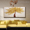 Yellow Blossoms Abstract Modern Floral Texture Knife Effigy for Living Room Wall Assortment