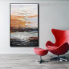 Lakeside Abstract Contemporary Bold Texture Handmade Nature Portraiture for Room Wall Ornament