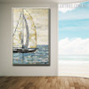 Sailing Boat Abstract Modern Seascape Bold Texture Handmade Nature Resemblance for Wall Disposition