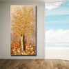 Golden Arbor Abstract Framed Heavy Texture Floral Palette Knife Painting For Wall Decoration
