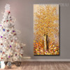 Golden Arbor Abstract Framed Heavy Texture Floral Palette Knife Painting for Living Room Wall Assortment