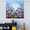 Calico Blossoms Abstract Framed Modern Floral Palette Knife Effigy for Diy Wall Decor