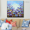 Calico Blossoms Abstract Framed Modern Floral Palette Knife Effigy for Living Room Wall Flourish