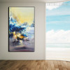 Ultramarine Abstract Modern Texture Framed Knife Artwork for House Interior Design
