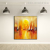 Sundown Abstract Bold Texture Framed Seascape Palette Knife Painting for Art Lovers