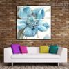 Blue Bloom Abstract Floral Modern Framed Heavy Texture Handmade Oil Paintings on Canvas for Living Room Wall Finery
