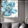 Blue Bloom Abstract Modern Framed Heavy Texture Handmade Oil Paintings on Canvas for Floral Decoration on Wall