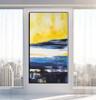 Narrowly Blue Abstract Contemporary Framed Handmade Canvas Art for Room Wall Drape