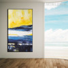 Narrowly Blue Abstract Contemporary Framed Handmade Canvas Art for Room Wall Getup
