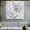 Grey Flower Abstract Floral Framed Handmade Oil Resemblance on Canvas for Lounge Room Wall Adornment