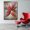 Red Bloom Floral Modern Texture Floral Palette Knife Painting for Lounge Room Wall Molding